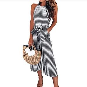 Pants - Adorable Sleeveless Striped Jumpsuit